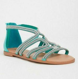 💗Nwt Stunning Teal Rhinestone Sandals size 11W